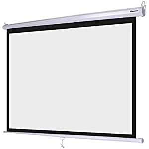 Portable 72 Inches 4:3 Manual Pull Down Wall Ceiling Mount Projector Screen Matte Surface Viewing Area 57 x 43