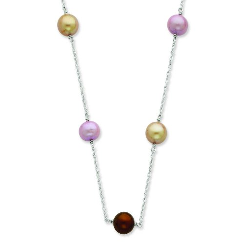 Silver 8-9mm FW Cultured Pearl w/2in ext. Necklace. 18in long Necklace.