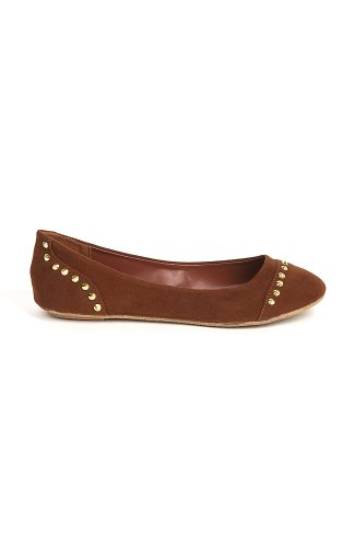 Bamboo Sami-97 Kid Suede Ballet Flat With Studded Spike Embellishments - Chestnut IKS