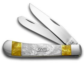 Case Xx Antique Gold And White Pearl Corelon Split Handle Trapper Pocket Knife Knives