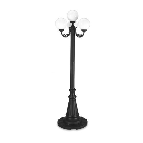 "Patio Living Concepts European 80"" Four White Globe Park Style Patio Lamp, Finish: Black"