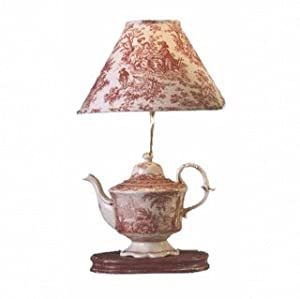 Red Toile Teapot Lamp