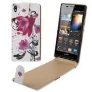 Purple Flower Pattern Vertical Flip Leather Case for Huawei Ascend P6
