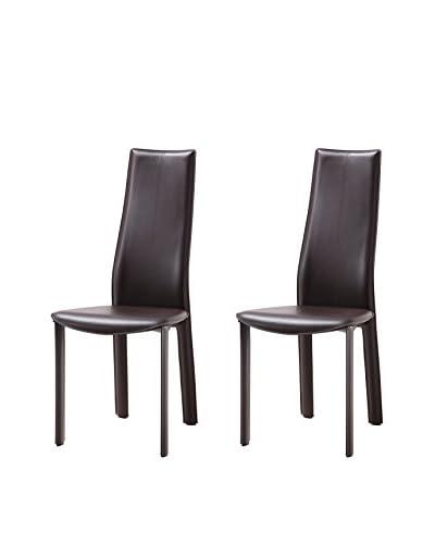 Whiteline Allison Set of 2 Dining Chairs, Brown