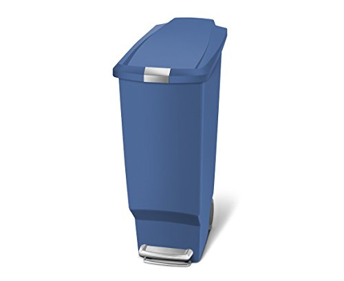 simplehuman Slim Plastic Step Trash Can, Blue Plastic, 40 L / 10.6 Gal (Blue Recycling Trash Can compare prices)