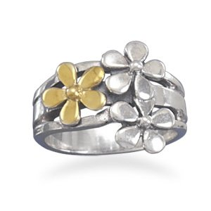 Sterling Silver Two Tone Flower Ring / Size 7