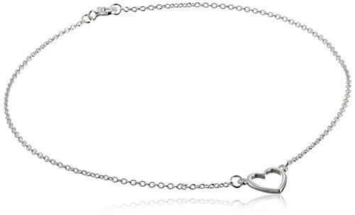 Sterling Silver Heart Cable Chain Anklet, 10