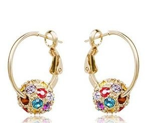 Swarovski Elements Sparkling Gold Loop Earrings encrusted with Multicolor Austrian Crystal For Women