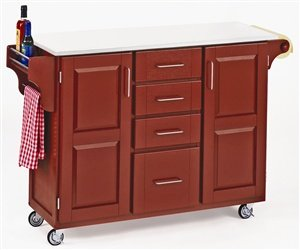 Cheap Homestyles 9100-1038 4 Drawer Kitchen Cart in Red with White Vinyl Top (9100-1038)
