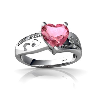 14K White Gold Heart Created Pink Sapphire Ring