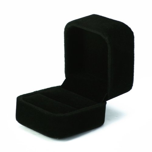 Large Velvet Ring Display Box Case Tray Jewelry Gift Box -- Black