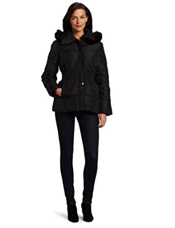 Via Spiga Women's Napoli Luxurious Fox Fur Trimmed Hooded Down Jacket, Black, Small