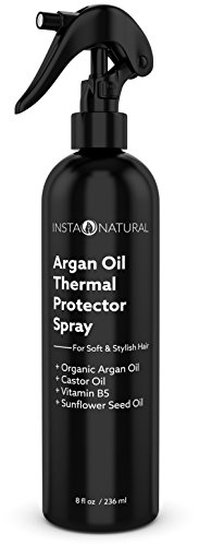 InstaNatural Thermal Protector Hair Spray - Heat Protectant Against Flat Iron - With Organic Argan Oil, Castor Oil, Vitamin B5 & Sunflower Seed Oil - Prevents Dryness, Damage & Split Ends - 8 OZ (Flat Iron Protector compare prices)