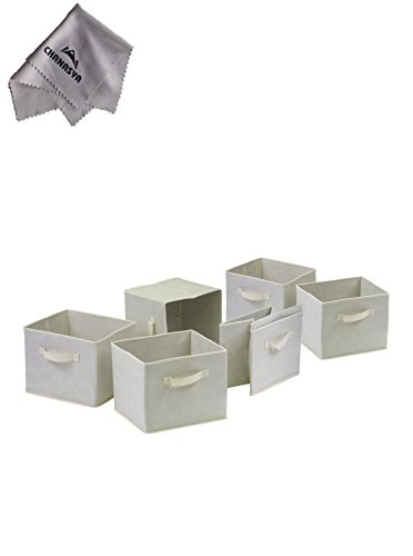 Capri Set Of 6 Foldable Beige Fabric Basketswith Chanasya Polish Cloth
