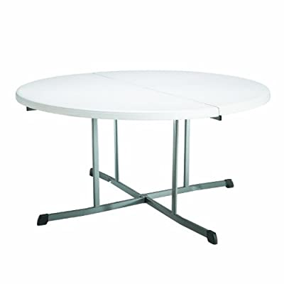 Lifetime 25402 60-Inch Round Fold-in-Half Commercial Table, White Granite Tabletop with Gray Frame