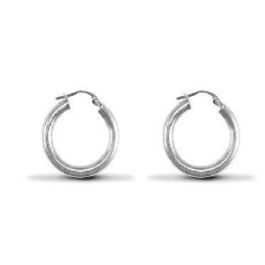 TOC Sterling Silver Round 14mm Creole Hoop Loop Huggie Earrings