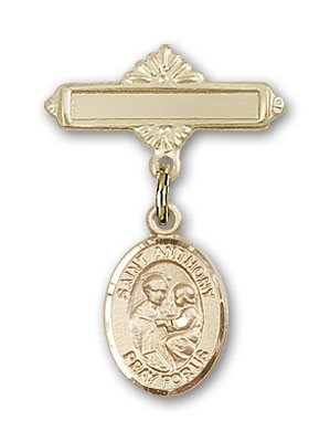Gold Filled Baby Badge with St. Anthony of Padua Charm and Polished Badge Pin St. Anthony of Padua is the Patron Saint of Lost Articles/The Poor