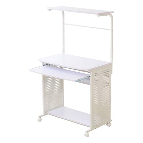 パソコンデスク(ホワイト)[たっぷり収納・75cm幅]