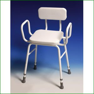 Height Adjustable Perching Stool - with Arms/Padded Backrest