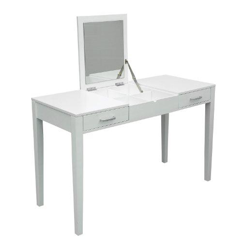 HomCom Modern White Dressing Vanity Table Make Up Writing Desk w/ Flip Mirror & Storage - White