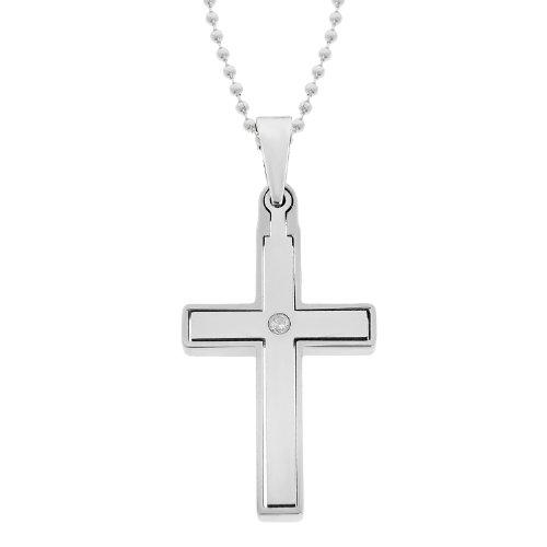 Men's Stainless Steel Grey Cubic Zirconia Cross Pendant Necklace, 22
