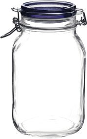 Bormioli Rocco Fido Square Jar With Blue Lid, 67-3/4-Ounce