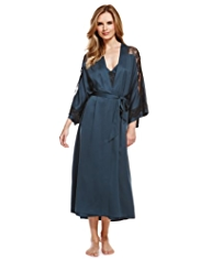 Plus Floral Lace Belted Wrap Dressing Gown MADE WITH SWAROVSKI® ELEMENTS