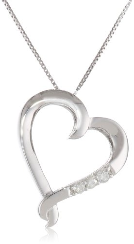 10k White Gold 3-Stone Diamond Heart Pendant Necklace (0.07 Cttw I-J Color, I2-I3 Clarity), 18""