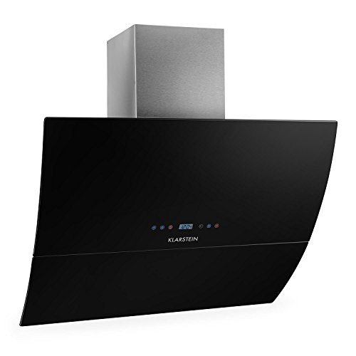Klarstein-RGL90BL-Dunstabzugshaube-Abzugshaube-Wandhaube-kopffrei-90cm-550mh-Abluftleistung-3-Leistungsstufen-optionaler-Umluftbetrieb-Timer-Funktion-Glas-Front