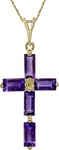 "14K Solid Gold 18"" Necklace With Amethysts Cross Pendant"