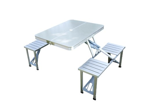 Tavolo In Alluminio Da Campeggio.Outsunny Tavolo Da Campeggio Richiudibile Con 4 Sedie Tavolino
