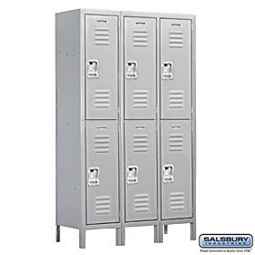 Salsbury Industries Assembled 2-Tier Extra Wide Standard Metal Locker with Three Wide Storage Units, 6-Feet High by 18-Inch Deep, Gray 10pcs 5x10x4mm metal sealed shielded deep groove ball bearing mr105zz