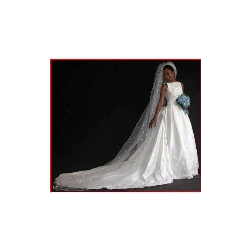 Ivory 1 Tier Cathedral Swarovski Crystal Rhinestones Bridal Wedding Veil
