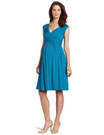 Olian Women's Maternity Jill Sleeveless Dress, Peacock Teal, Small