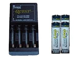 Quest AAAAA NiMHNICd Battery Charger 4 AA 2300 mAh NiMH Acculoop Batteries Low Discharge