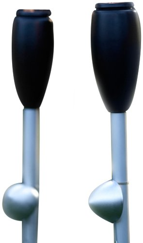 """Two New Gray Danish Elipse Outdoor Garden Torch Sets, Patented Hands-Free Scandinavian Design, 63"""" Tall, Plus Two 750Ml Bottles Of Danish Clean Green Oil, World'S Only Non-Toxic Non-Flammable Alternative To Paraffin And Kerosene, Made From Vegetable Oil N front-198287"""