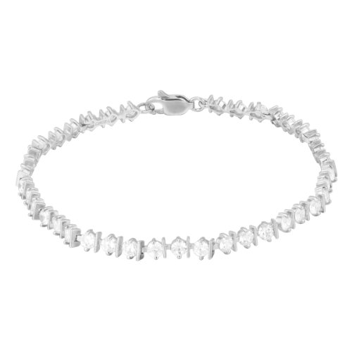 Sterling Silver Round-Cut Cubic Zirconia Alternating