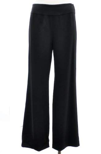 Eileen Fisher Black Wool Blend Wide-Leg Wool Pants-XS