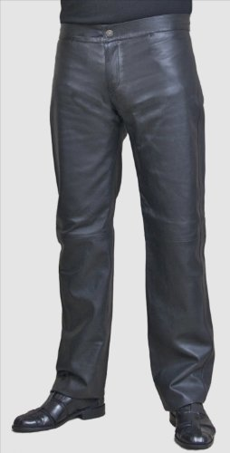 Mens Smart Leather Trousers - Black, Waist 28
