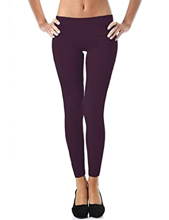 Mato & Hash Women's 90/10 Cotton Spandex Tights Pant Leggings Plum S