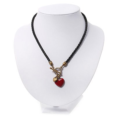 Black Leather Red Enamel Heart Charm Necklace With T- Bar Closure - 36cm Length