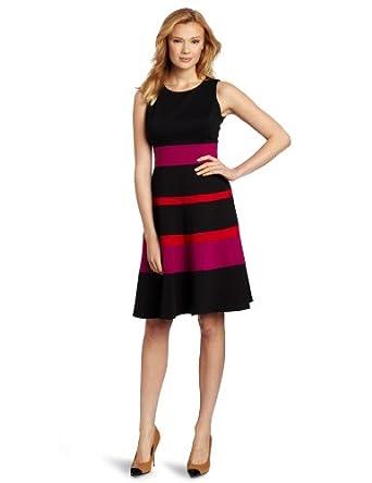 Anne Klein Women's Color Block Ponte Swing Dress, Black, 6