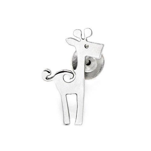925 Sterling Silver Polished Finish Giraffe Single Stud Earring