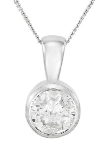 9ct White Gold Ladies' 1/2 Carat Solitaire Rub Set Diamond Pendant 46cm Curb