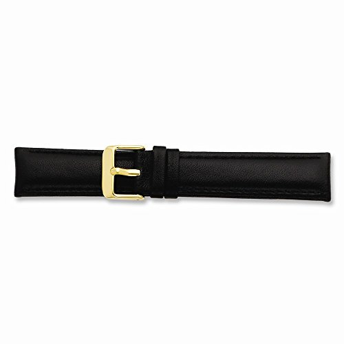 22Mm Black Glove Leather Gold-Tone Buckle Watch Band