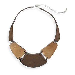 Fashion Wood and Shell Bib Necklace