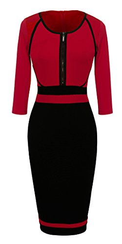 Homeyee® Women's Vintage Colorblock Career Bodycon Dress B235 (XL, Red) (Dress Form Xl Adjustable compare prices)