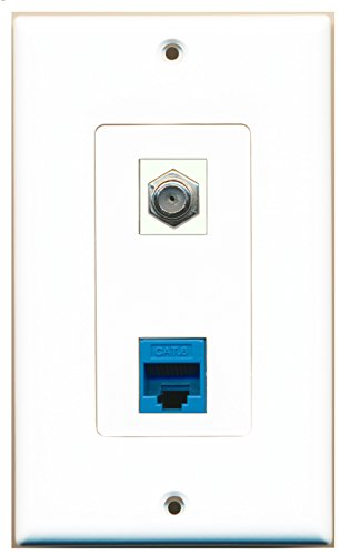 RiteAV – 1 Port Cat6 Ethernet Blue 1 Port Coax Cable TV- F-Type Ivory Decorative Wall Plate