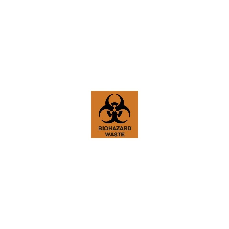 Hazardous Waste Adhesive Vinyl Labels BIOHAZARD WASTE (W/GRAPHIC) 6 x 6 (Roll/250)