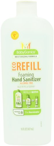 BabyGanics Alchohol Free Foaming Hand Sanitizer Refill, 16-Fluid Ounce Bottle